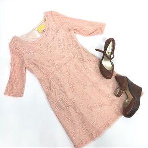 Maeve Anthropology Lekfara Blush Pink lace dress
